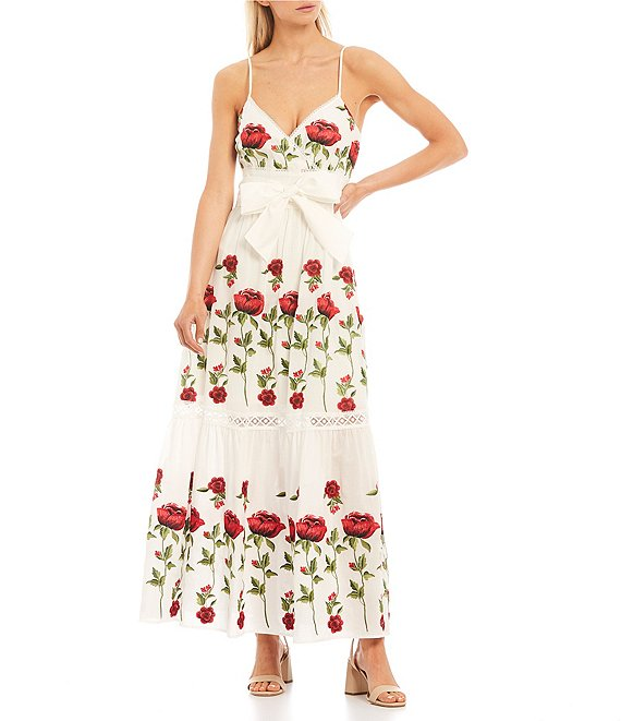 Color:White/Cherry - Image 1 - Henry Embroidered Floral Maxi Dress
