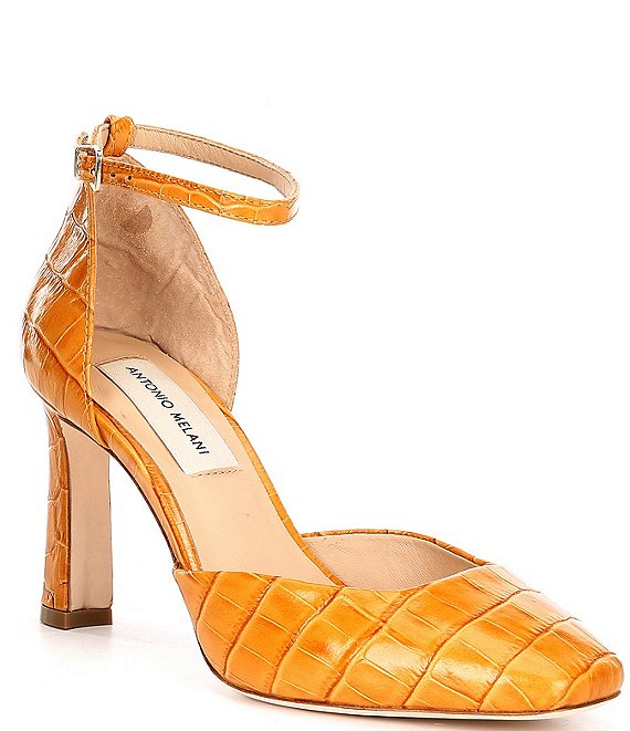Color:Rich Ochre - Image 1 - Janellie Croc Embossed Leather Pumps