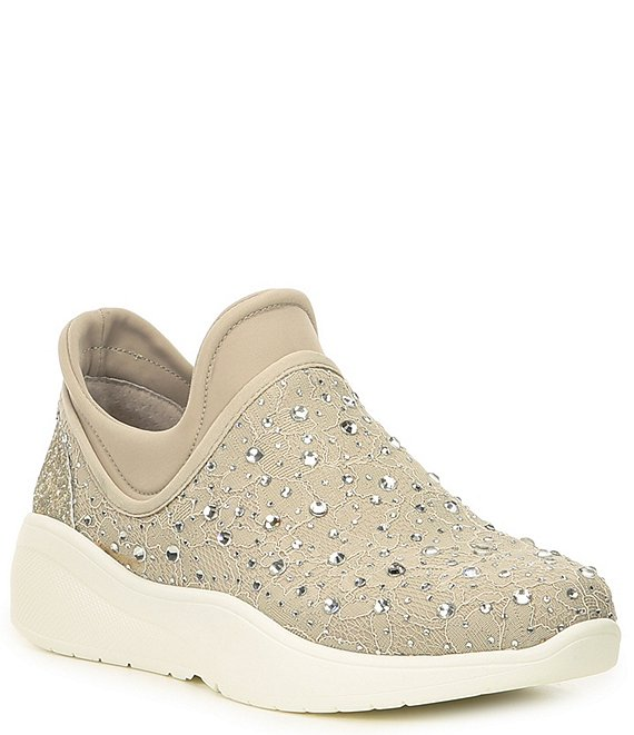 Color:Chalk - Image 1 - Jaxtyn Hotfix Lace and Jewel Embellished Sneakers
