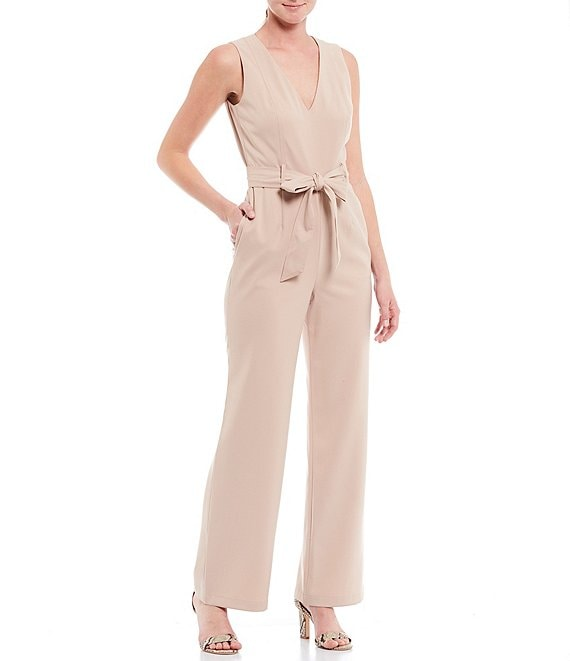 Color:Ginger - Image 1 - Jem Stretch Twill V-Neck Sleeveless Tie Waist Jumpsuit