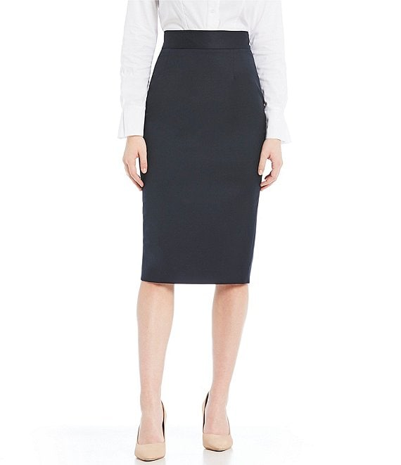 Color:Navy - Image 1 - Made with Loro Piana Fabric Jennifer Pencil Skirt