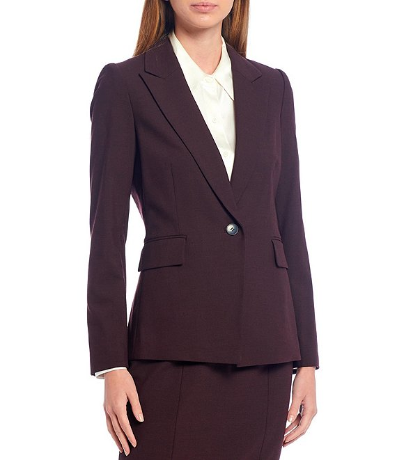 Color:Oxblood/Black - Image 1 - Laura Cross Dye Suiting One-Button Wool Blend Jacket