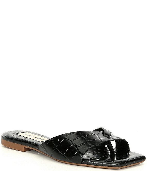 Color:Black - Image 1 - Lev Croco Printed Leather Thong Square Toe Flat Sandals