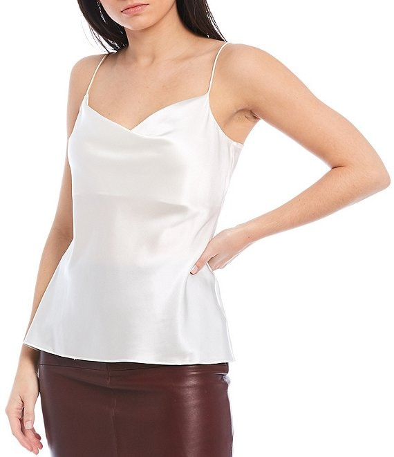 Color:Ivory - Image 1 - Lila Cowl Neck Silk Blend Cami