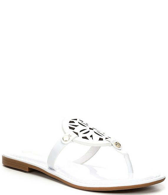 Color:White - Image 1 - Lindenie Patent Leather Flat Sandals