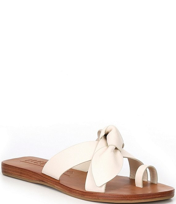 Color:Sweet Cream - Image 1 - Loyren Knotted Leather Thong Flat Sandals