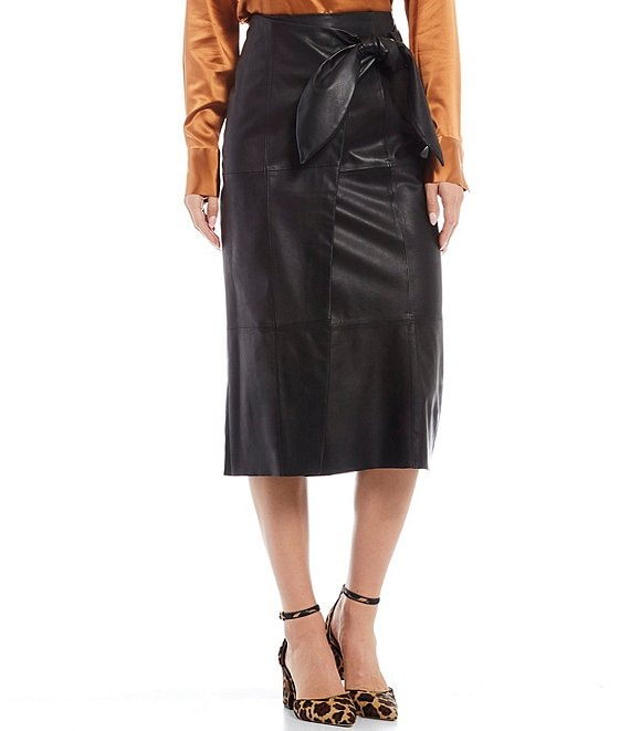 Color:Black - Image 1 - Luxury Collection Genuine Leather Julia Faux-Wrap Skirt