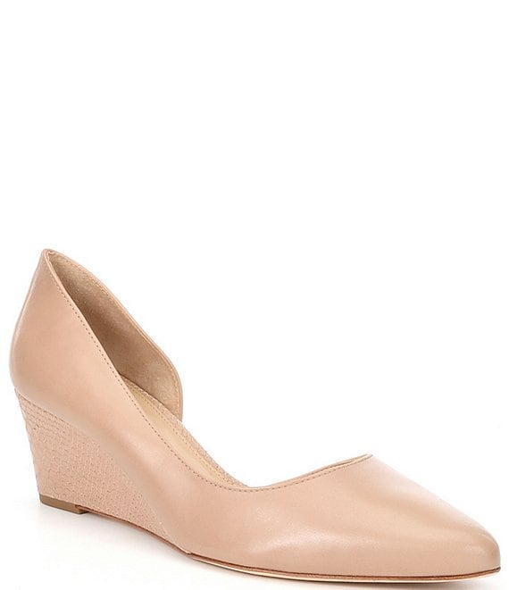 Color:Modern Taupe - Image 1 - Lyeana Leather d'orsay Wedge Pumps