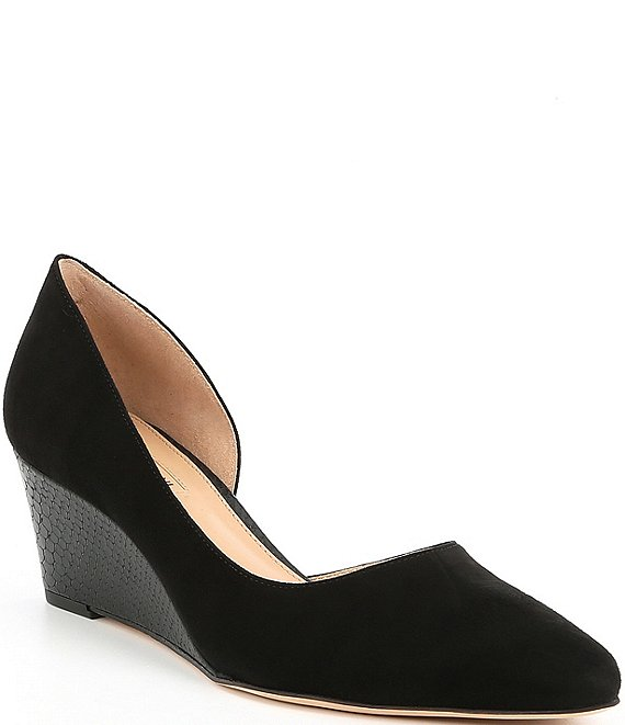 Color:Black - Image 1 - Lyeana Leather d'Orsay Wedge