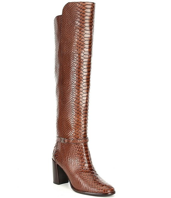 Color:Whitney Brown - Image 1 - Malindah Snake Print Leather Dress Boots