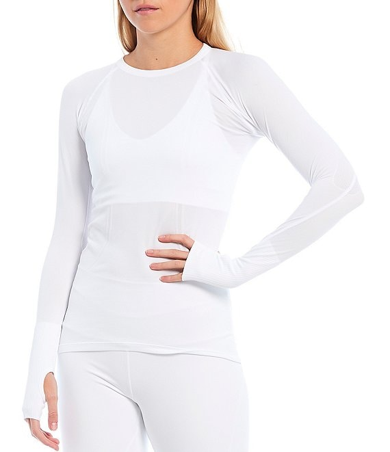 Color:White - Image 1 - Mantra Long Sleeve 4-Way Stretch Light Weight Top