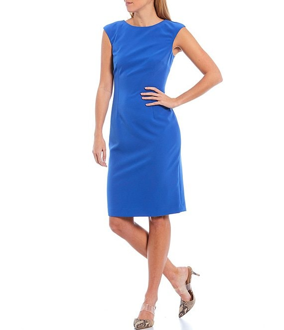 Color:Bay Blue - Image 1 - Mario Stretch Crepe Cap Sleeve Sheath Dress