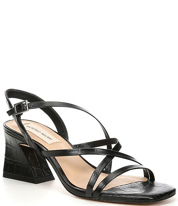 Color:Black - Image 1 - Merced Croc Embossed Leather Strappy Block Heels