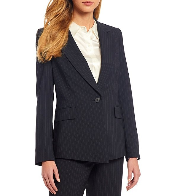 Color:Navy/Ivory - Image 1 - Micah Long Sleeve Pinstripe Wool Blend Suiting Jacket