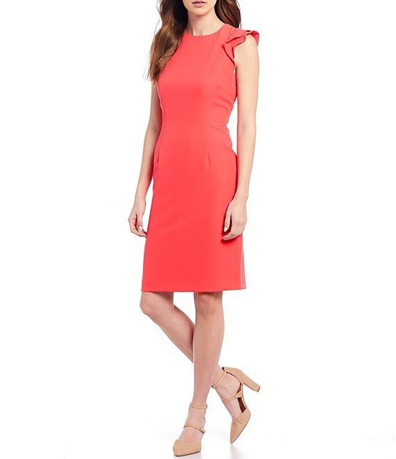 Color:Punch - Image 1 - Molly Stretch Crepe Round Neck Ruffle Cap Sleeve Sheath Dress