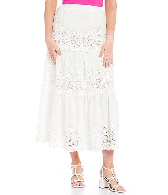Color:Ivory - Image 1 - Naomi Eyelet Tiered Cotton Maxi Skirt