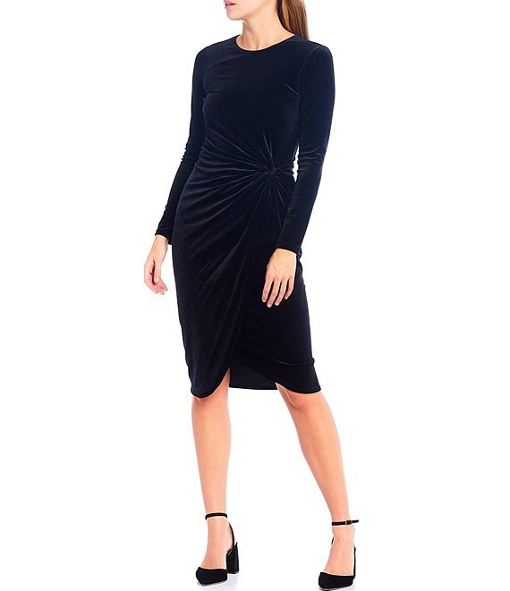 Color:Black - Image 1 - Natalie Velvet Long Sleeve Sheath Dress
