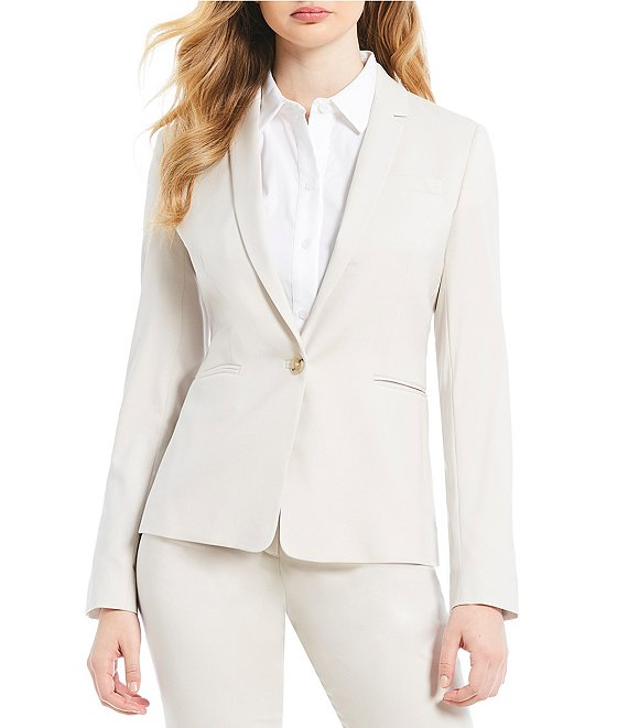 Color:Stone - Image 1 - Made with Loro Piana Fabric Nicole Blazer Jacket