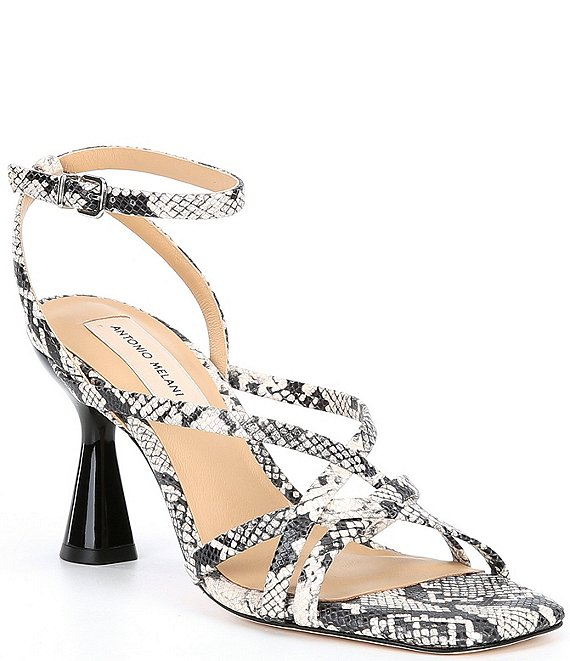 Color:Black/Ecru - Image 1 - Nicolyn Square Toe Snake Print Leather Dress Sandals