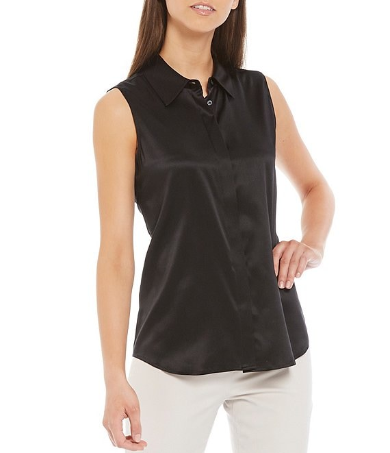 Color:Black - Image 1 - Oliver Stretch Silk Charmeuse Button Front Sleeveless Blouse