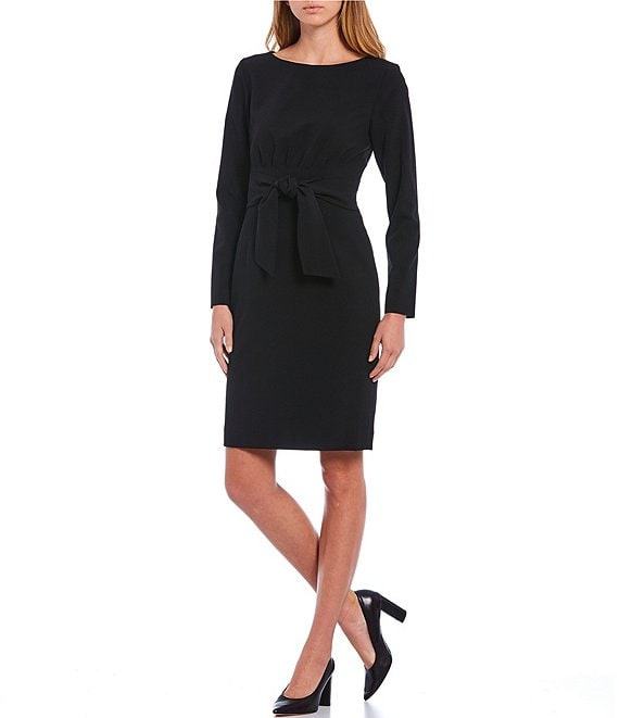 Color:Black - Image 1 - Pammy Long Sleeve Pleat Back Tie Waist Sheath Dress