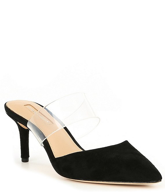 Color:Black/Clear - Image 1 - Pascalie Suede & Clear Mules