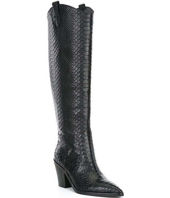 Color:Black - Image 1 - Peigi Snake Printed Leather Tall Western Boots