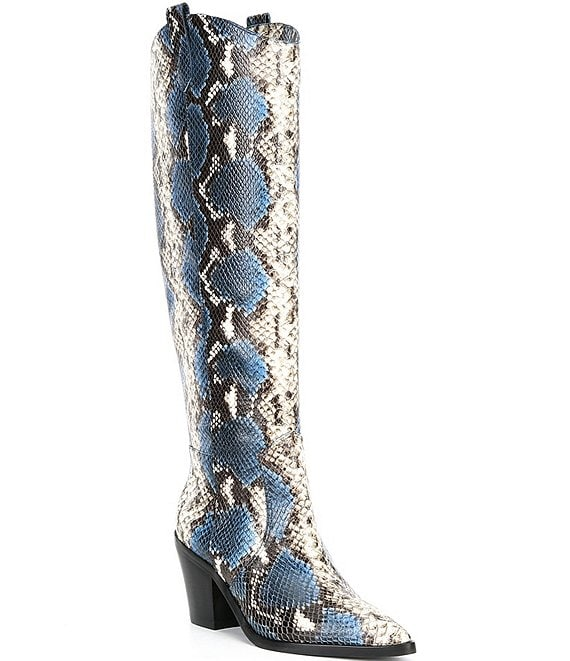 Color:Blue Multi - Image 1 - Peigi Snake Printed Leather Tall Western Boots