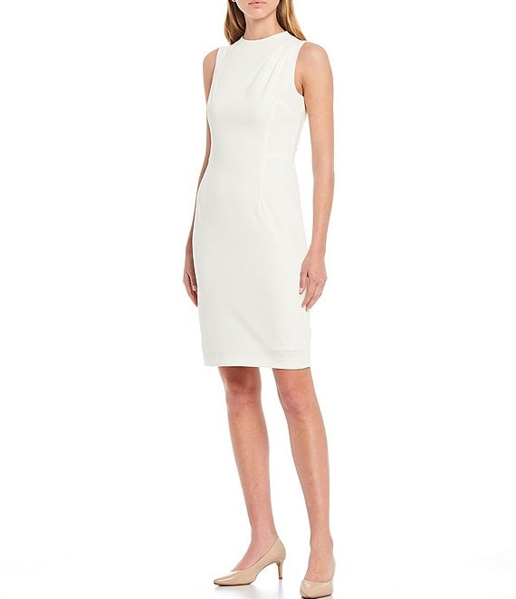 Color:Ivory - Image 1 - Pepper Plain Weave Sheath Dress