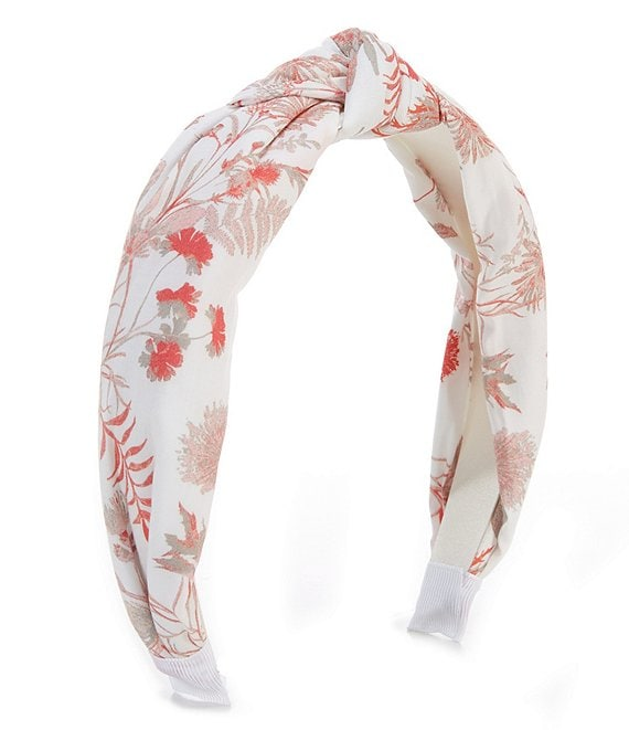 Color:White/Pomegranate - Image 1 - Poppy Floral Sateen Headband