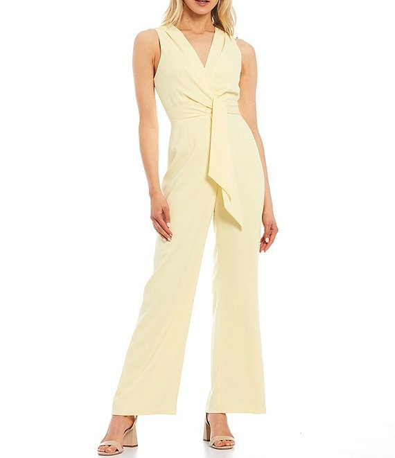 Color:Lemon - Image 1 - Raquelle Sleeveless Stretch Crepe Wide Leg Jumpsuit