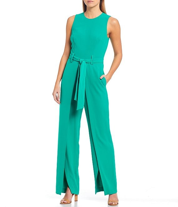 Color:Clover Green - Image 1 - Rebecca Crepe de Chine Belted Sleeveless Jumpsuit