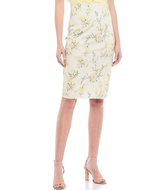 Color:Oat/Pool - Image 1 - Rosalie Floral Print Stretch Cotton Pencil Skirt