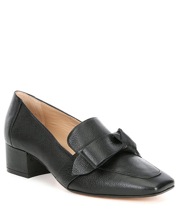 Color:Black - Image 1 - Sameera Knotted Block Heel Loafers