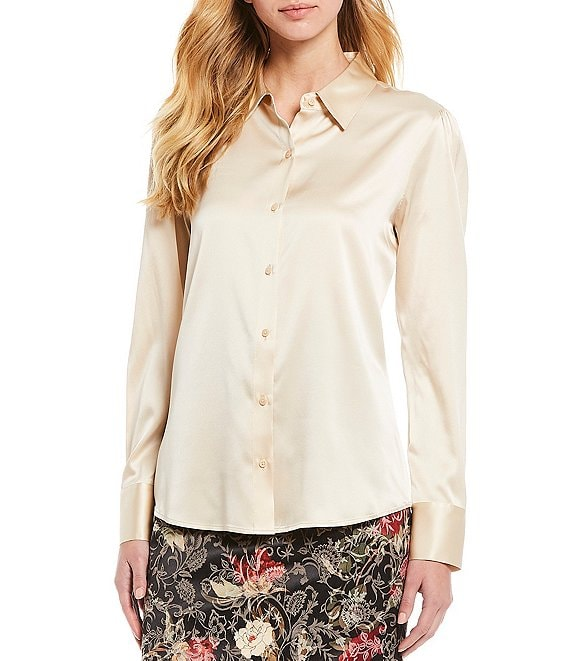 Color:Birch - Image 1 - Sammy Long Sleeve Stretch Silk Charmeuse Blouse
