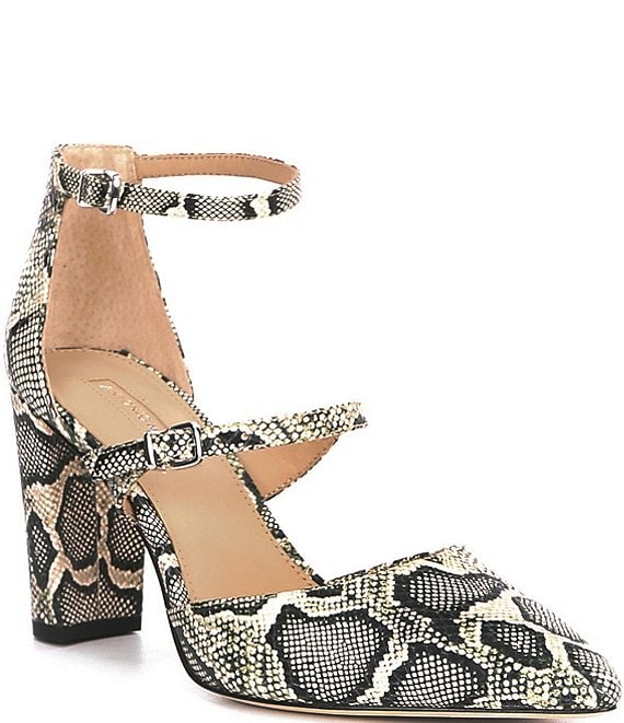 Color:Snake Multi - Image 1 - Seriena Snake Print Double Strap Block Heel Pumps