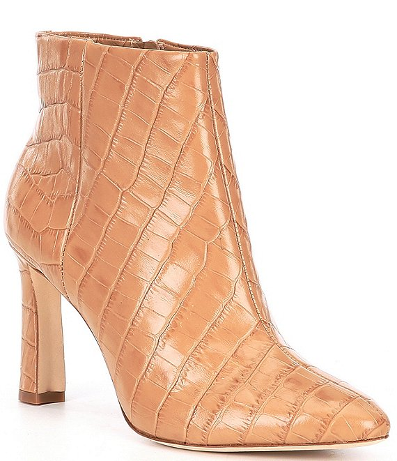Color:Sandy Nude - Image 1 - Stazie Croc Embossed Leather Booties