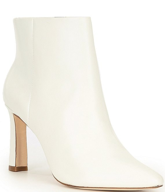 Color:White - Image 1 - Stazie Leather Side Zip Pointed Toe Booties