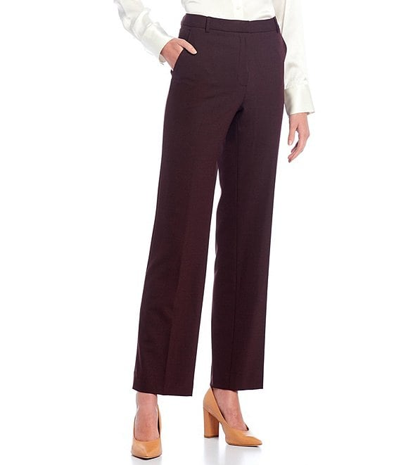 Color:Oxblood/Black - Image 1 - Tobias Cross Dye Suiting Wool Blend Wide Leg Pants
