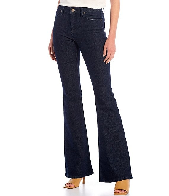 Color:Solid Dark Wash - Image 1 - Veronica Flare Jeans
