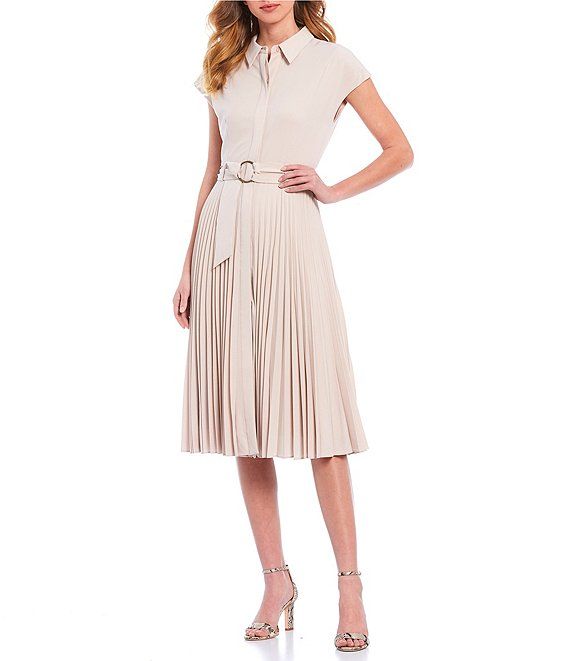 Color:Taupe - Image 1 - Victor Faille Pleated Short Sleeve Belted A-Line Midi Dress