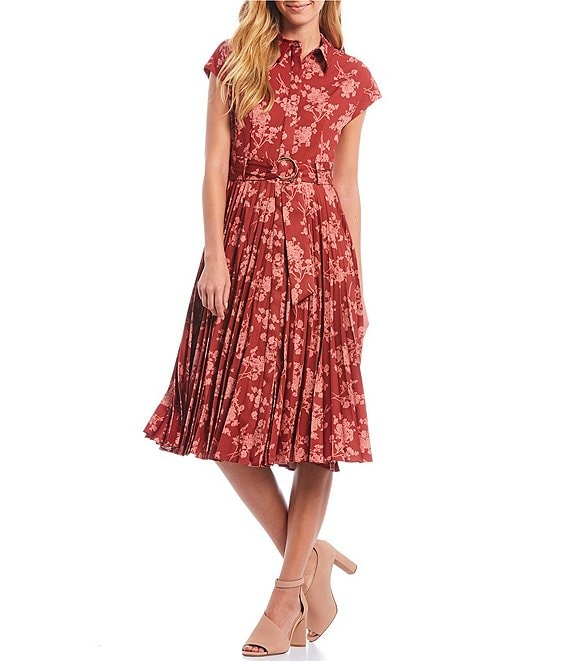 Color:Red Ochre/Terracotta - Image 1 - Victor Floral Printed Pleated Faille Belted Waist A-Line Midi Dress