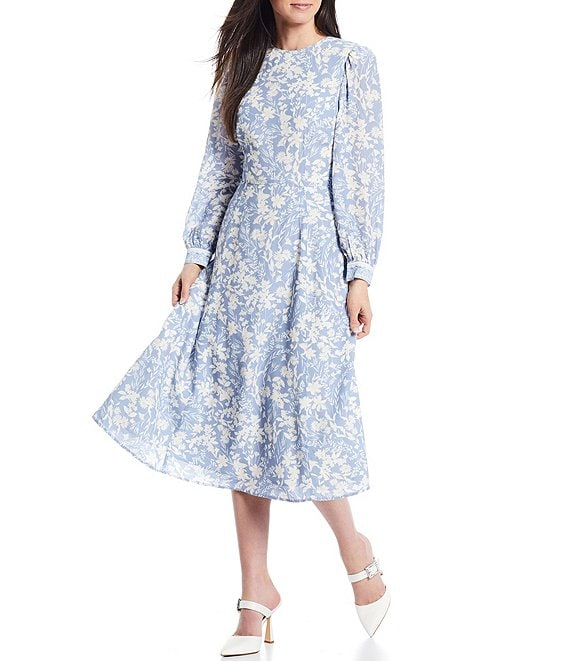Color:Sky/White - Image 1 - x Born on Fifth Alizee Long Sleeve Floral Print Cut-Out Back Midi Dress