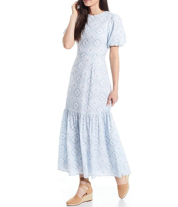 Color:Slate/Sky - Image 1 - x Born on Fifth Belmondo Puff Sleeve Tile Print Ankle Length Dress