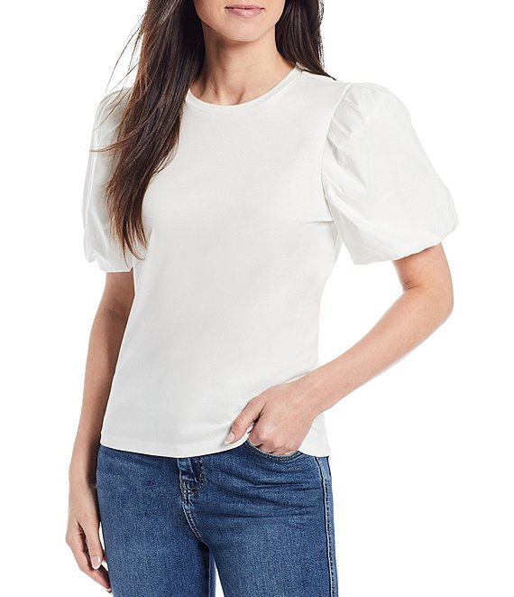 Color:White - Image 1 - x Born on Fifth Elias Puff Sleeve Tee