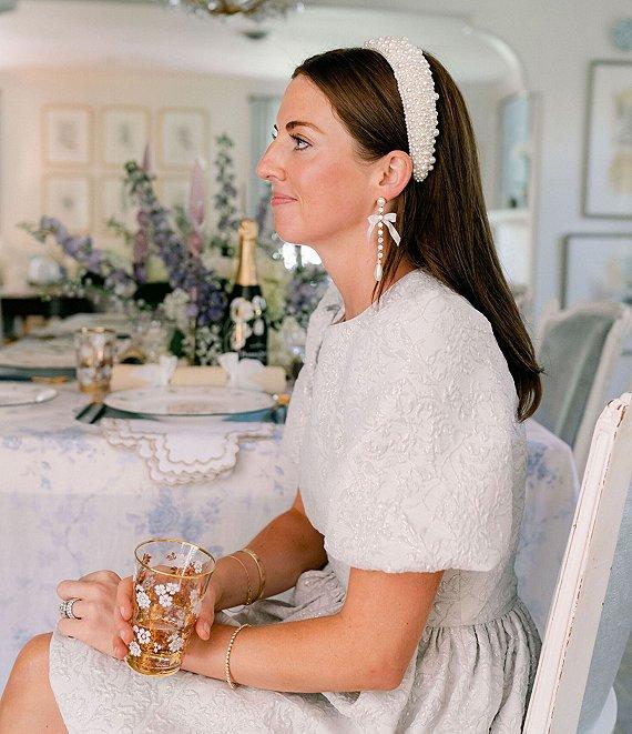 Nicola Bathie x Antonio Melani linear pearly bow earrings