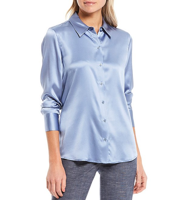 Color:Cornflower - Image 1 - Yana Button Front Collared Stretch Silk Charmeuse Blouse