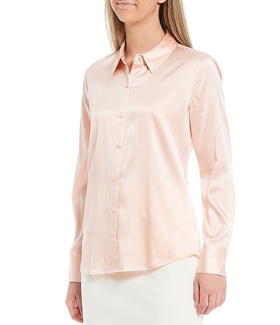 Color:Pink Sand - Image 1 - Yana Button Front Collared Stretch Silk Charmeuse Blouse
