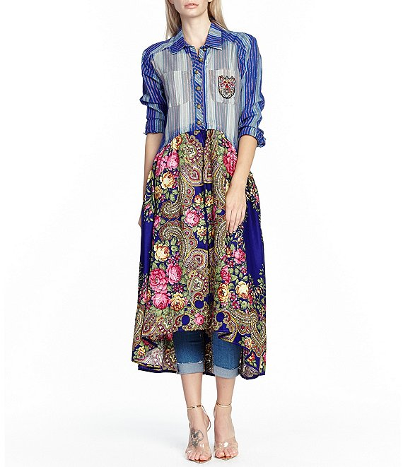 Aratta Veronica Convertible Floral Print Button Front Hi-Low Midi Length Shirt Dress