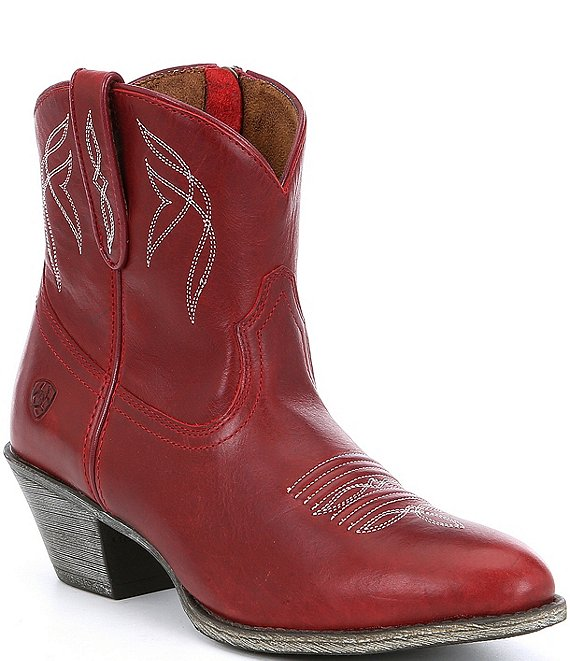 Color:Rosy Red - Image 1 - Darlin Short Leather Block Heel Western Boots